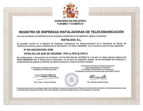 INSTELSON, S.L. EMPRESA REGISTRADA EN EL MINISTERIO DE INDUSTRIA TURISMO Y COMERCIO